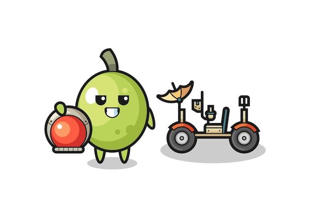 L'olive mignonne comme astronaute avec un rover lunaire, design de style mignon pour t-shirt, autocollant, élément de logo