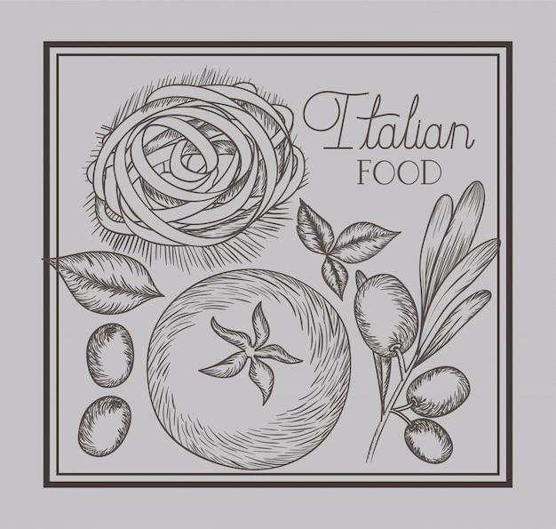 Olive et tomates plantent des plats italiens dessinés