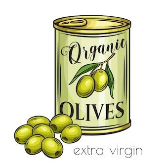 Olives en conserve dans une boîte de conserve.