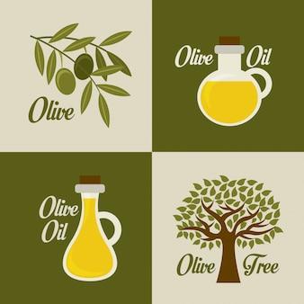 Olives design sur fond vert et beige