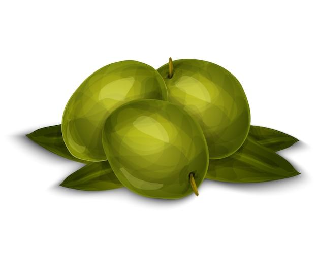Olives isolées sur blanc