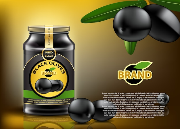 Olives noires traditionnelles en conserve dans un récipient en verre avec une belle étiquette et une couverture. maquette éditable réaliste.