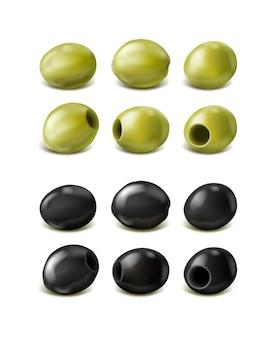 Olives vertes et noires réalistes isolées
