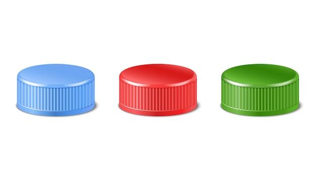 Ollection de bouchons de bouteilles en plastique rouges, verts et bleus en vue latérale. avec couvercles à vis pour animaux de compagnie, eau, bière, cidre de soda. illustration d'icône isolée.
