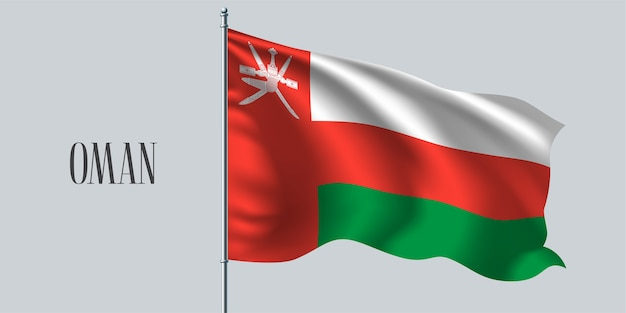 Oman, agitant le drapeau sur l'illustration vectorielle de mât de drapeau. élément de conception rouge blanc du drapeau réaliste ondulé comme symbole du pays
