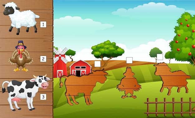 Ombre assortie de jeu d'animaux de ferme