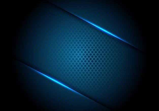 Ombre de la ligne de lumière bleue abstraite sur fond de maille de cercle sombre.