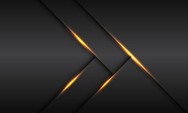 Ombre de ligne de lumière dorée abstraite sur fond futuriste de luxe moderne métallique gris foncé