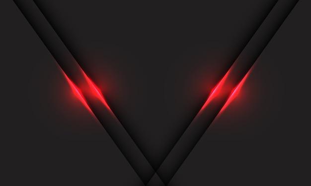 Ombre de ligne de lumière rouge abstraite sur la technologie futuriste moderne de conception grise.