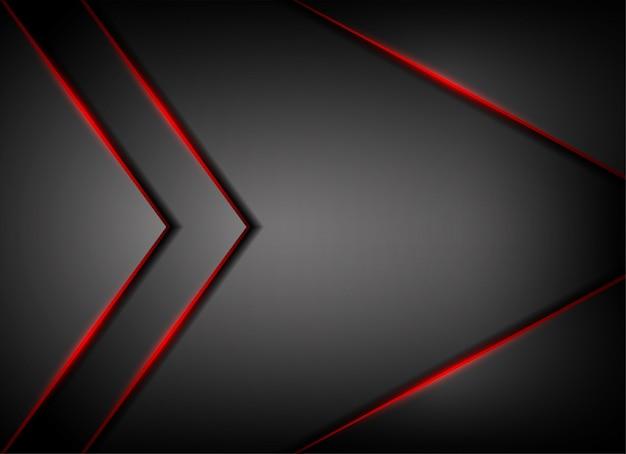Ombre de ligne de lumière rouge sur fond gris