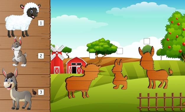 Ombre matant du jeu des animaux de la ferme