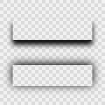 Ombre réaliste transparente foncée. ensemble de deux ombres de rectangles isolés sur fond transparent. illustration vectorielle.
