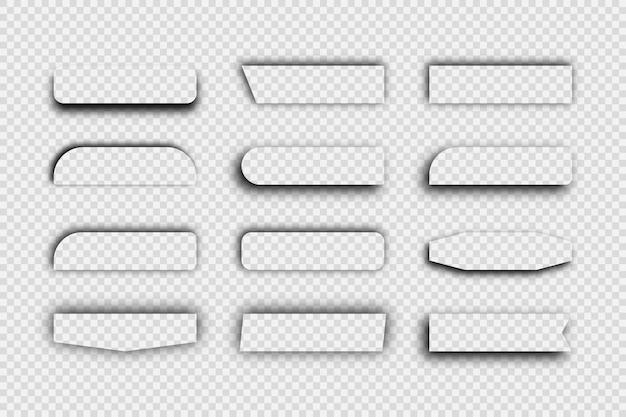Ombre réaliste transparente foncée. ensemble de douze ombres rectangulaires isolées sur fond transparent. illustration vectorielle.