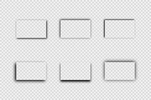 Ombre réaliste transparente foncée. ensemble de six ombres rectangulaires isolées sur fond transparent. illustration vectorielle.