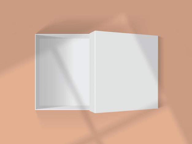 Ombres des fenêtres sur une boîte blanche