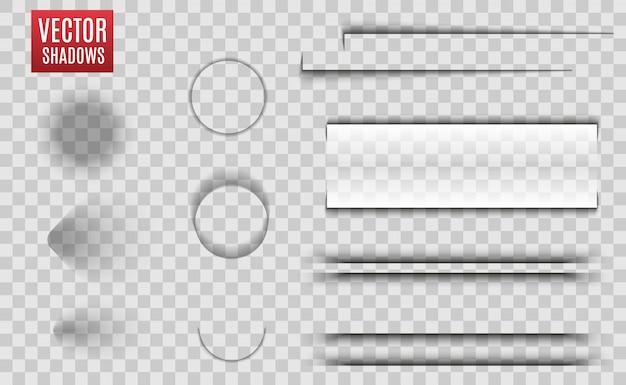 Ombres isolées. illustration réaliste d'ombre transparente. séparateur de page avec des ombres transparentes isolées. jeu de pages.