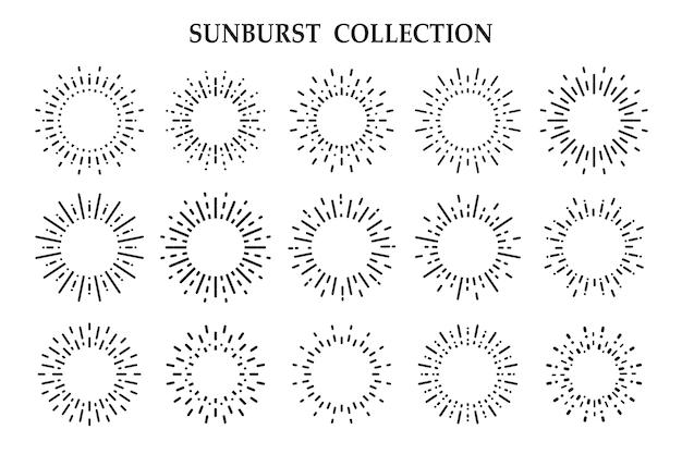 Les ombres des rayons rayonnants de la lumière du soleil isolé sur fond blanc