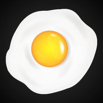 Omelette aux œufs sur le plat en style cartoon.