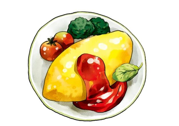 Omelette Aux œufs Vecteur Premium