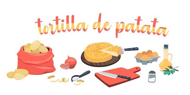 Omelette espagnole aux pommes de terre ingrédients tortilla de patata huile d'olive oignons pommes de terre oeufs
