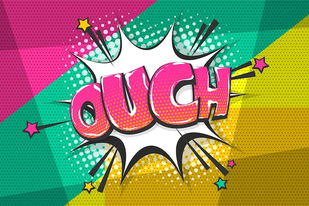 Omg aïe oops collection de texte comique effets sonores style pop art bulle de dialogue vectorielle