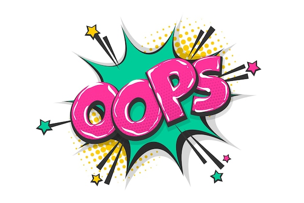 Omg aïe oops salutation wow bulle de dialogue texte comique effet sonore de style pop art coloré
