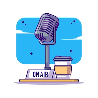 On air podcast et illustration de dessin animé de microphone