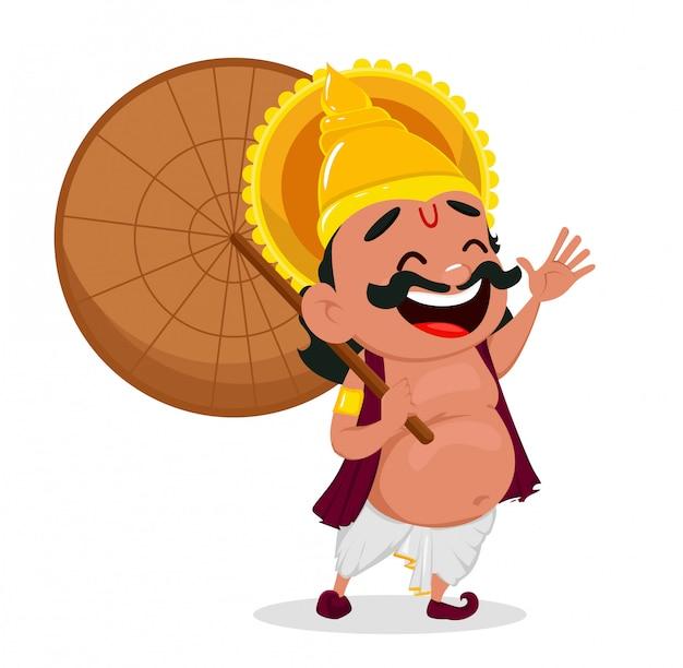 Onam fête. roi mahabali tenant un parapluie