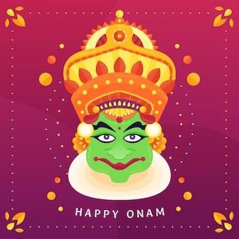 Onam heureux avec couronne et divinité