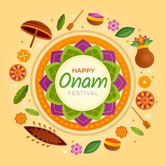 Onam heureux avec des décorations