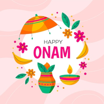 Onam heureux avec des fleurs et des bougies