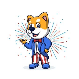 Oncle sam dog american patriot cartoon mascotte logo design