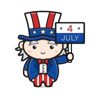 Oncle sam mignon tenant la date de licône de dessin animé de la fête de lindépendance américaine