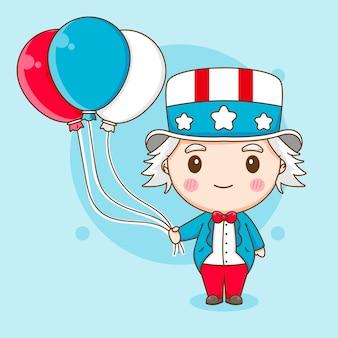 Oncle sam mignon tenant illustration de personnage de dessin animé ballon