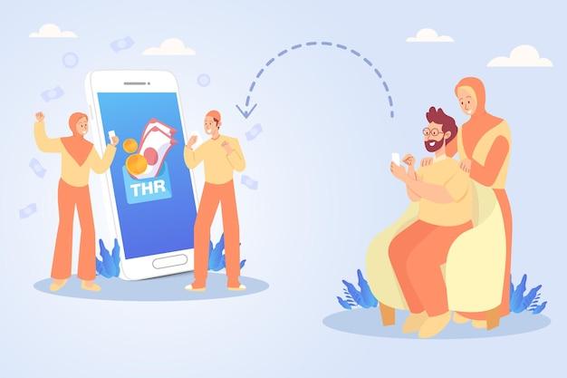Oncle et tante transférant des bonus thr tunjangan hari raya ou eid mubarak à des neveux via une application bancaire en ligne.
