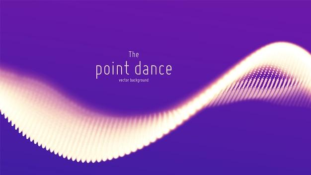 Onde abstraite de particules violettes, tableau de points, faible profondeur de champ. fond numérique de technologie