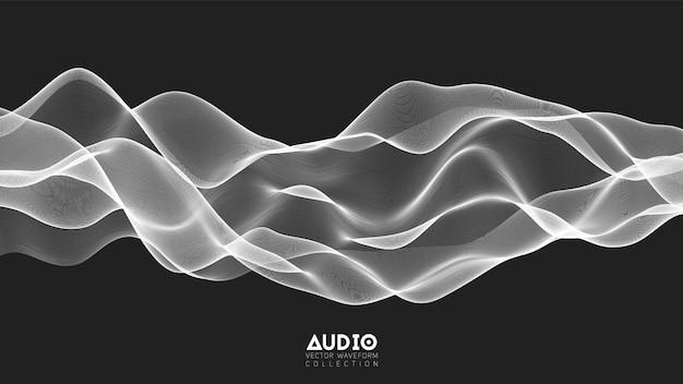 Onde audio d'écho 3d à partir du spectre. graphique d'oscillation d'ondes de musique abstraite.