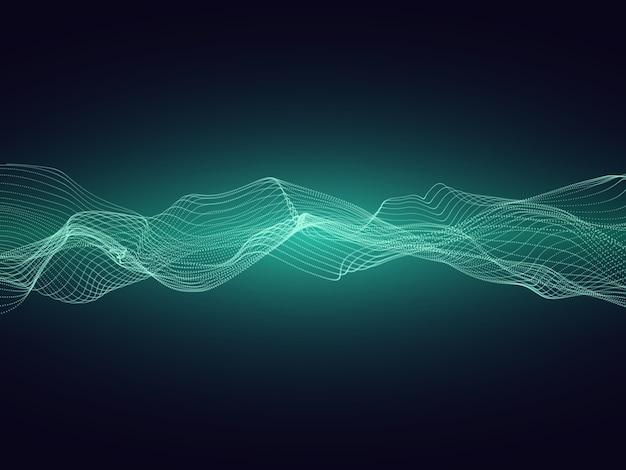 Onde d'énergie sonore abstraite avec particules vectorielles fond