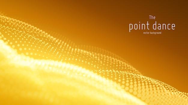 Onde de particules abstraites de vecteur, tableau de points avec une faible profondeur de champ. illustration futuriste. technologie éclaboussure numérique ou explosion de points de données. forme d'onde de danse de pont. cyber ui, élément hud.