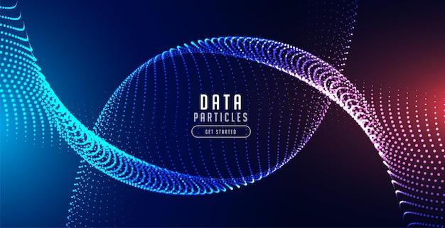 Onde de particules de mouvement avec lumières bleues et rouges