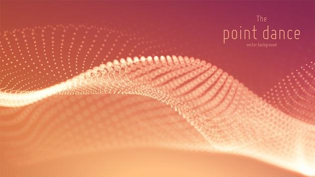 Onde de particules rouges abstraites de vecteur, tableau de points, faible profondeur de champ. illustration futuriste. technologie éclaboussure numérique ou explosion de points de données. forme d'onde de danse ponctuelle. cyber ui, élément hud.