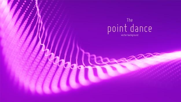 Onde de particules violettes abstraites de vecteur, tableau de points, faible profondeur de champ. illustration futuriste. technologie éclaboussure numérique ou explosion de points de données. forme d'onde de danse ponctuelle. cyber ui, élément hud.
