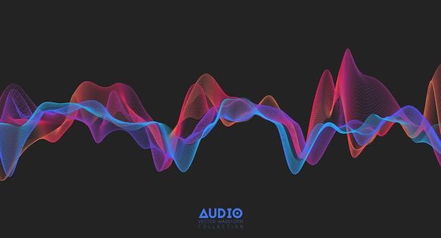 Onde sonore audio 3d. oscillation d'impulsion musicale colorée.