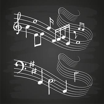 Onde sonore musicale de croquis de craie avec des notes de musique