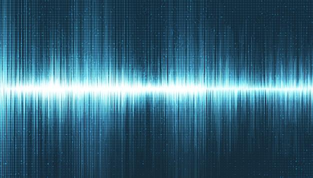 Onde sonore numérique sur fond bleu clair