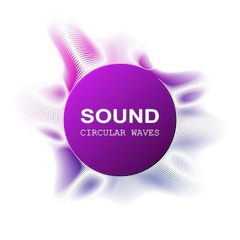 Ondes sonores de couleur radiale sur fond de darck, illustration