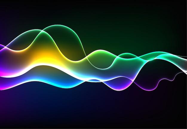 Ondes sonores modernes qui oscillent dans une lumière bleue foncée