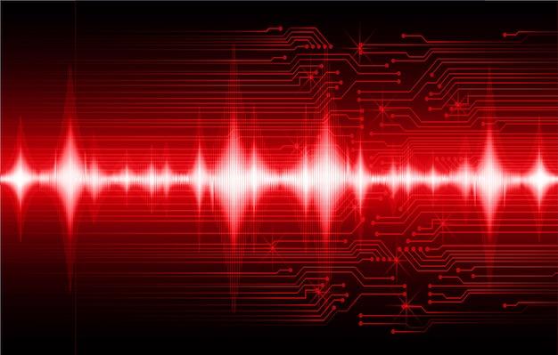 Ondes sonores oscillant fond de lumière rouge foncé
