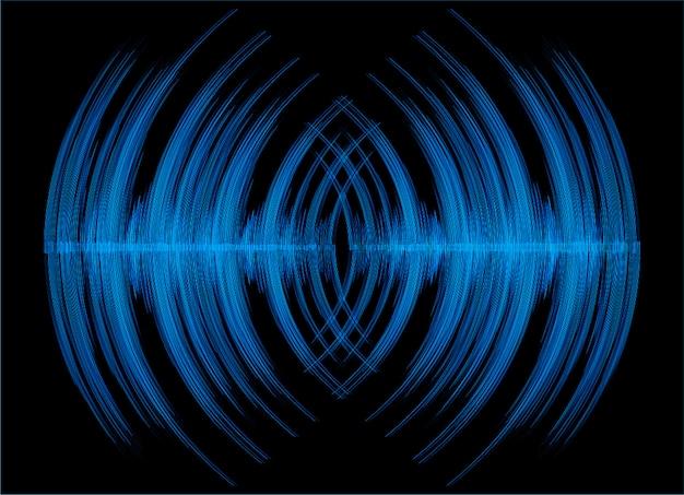 Ondes sonores oscillant sur fond sombre noir