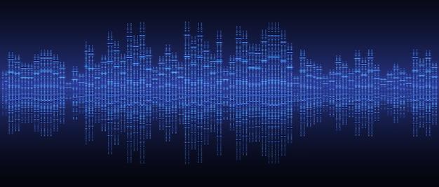 Ondes sonores oscillant la lumière bleu foncé